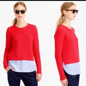 J. Crew 100% lambswool red sweater shirt tail